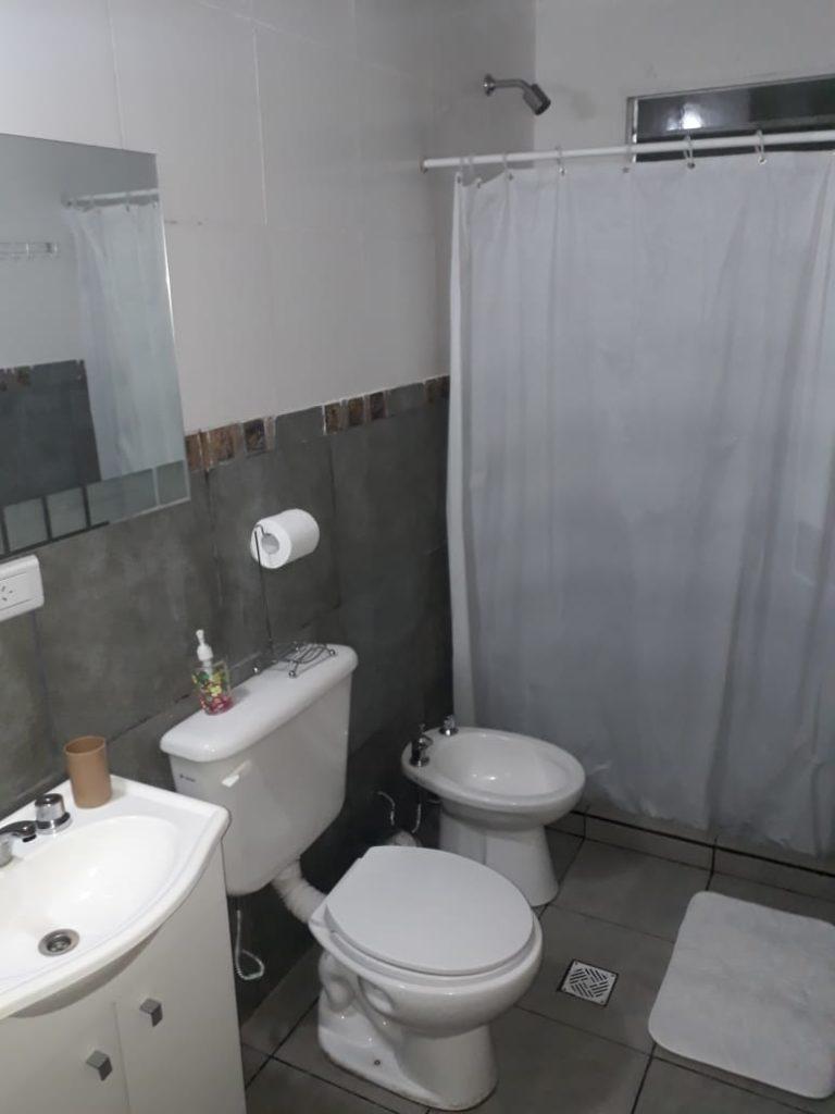 baño y cortina de ducha.